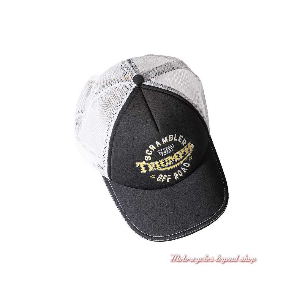 Casquette Scrambler Triumph homme, noir, blanc, maille filet, polyester, MCAA18220