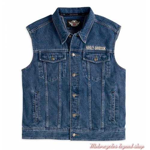 Veste en jean sans manche Harley-Davidson, homme? coton, bleu, Bar & Shield, 99041-08VM
