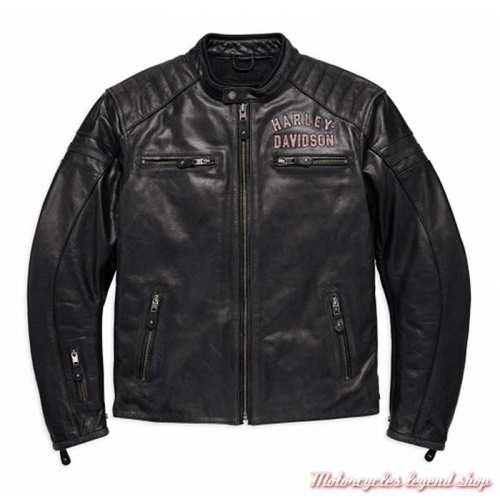 Blouson cuir 1 Genuine Harley-Davidson, homme, noir, homologué CE, 98121-17EM