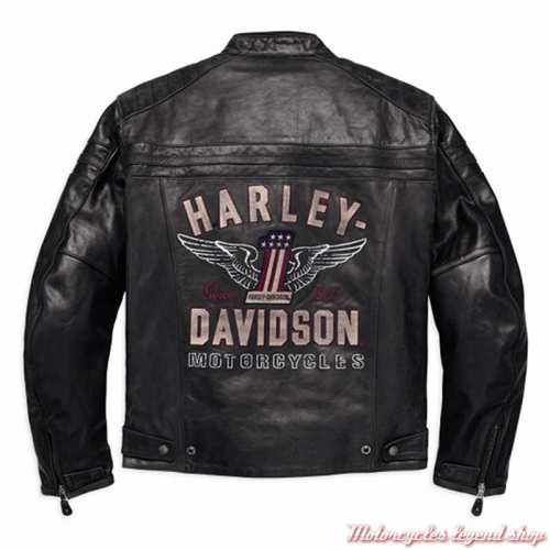 Blouson cuir 1 Genuine Harley-Davidson, homme, noir, homologué CE, dos, 98121-17EM