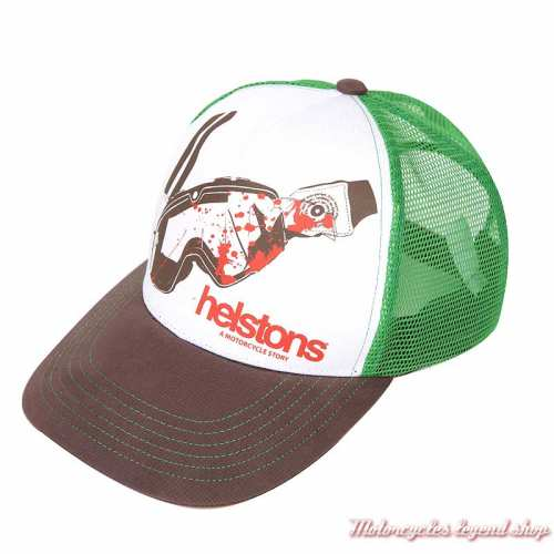 Casquette Visor Helstons, vert, blanc, marron