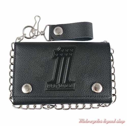 Portefeuille Number One noir Harley-Davidson, plus grand, cuir grainé, chainette, XML3888-BLK