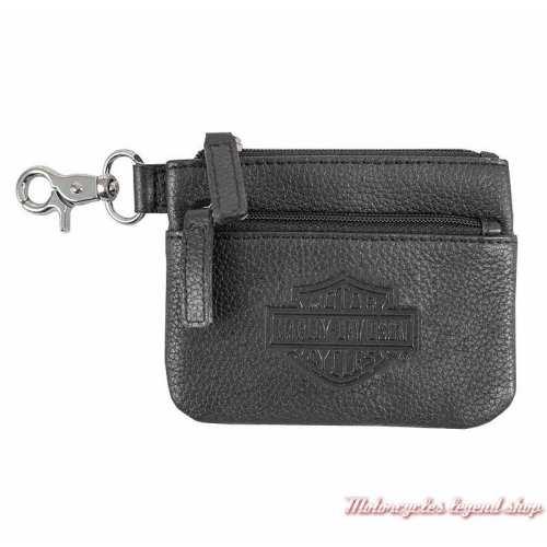 Porte monnaies Bar & Shield Harley-Davidson femme cuir noir grainé, zips, mousqueton, BSE6961-BLACK