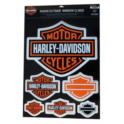 6 stickers Bar & Shield, de vitre, double face, Harley-Davidson DW302