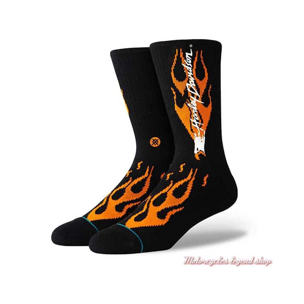Chaussettes Heritage Harley-Davidson, unisexe, flaming, noir, orange, U556C19HER