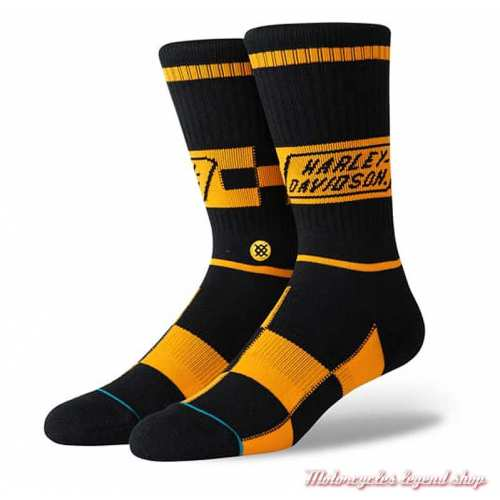 Chaussettes Race Badge Harley-Davidson, unisexe, racing, noir, orange, U556C19HAR