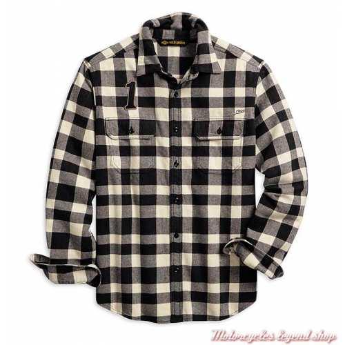 Chemise à carreaux Buffalo Harley-Davidson homme, manches longues, noir, blanc, coton, 96010-20VM