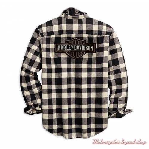 Chemise à carreaux Buffalo Harley-Davidson homme, manches longues, noir, blanc, coton, dos, 96010-20VM