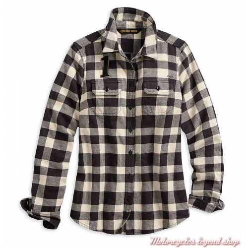 Chemise à carreaux Buffalo Harley-Davidson femme, manches longues, noir, blanc, coton, 96064-20VW