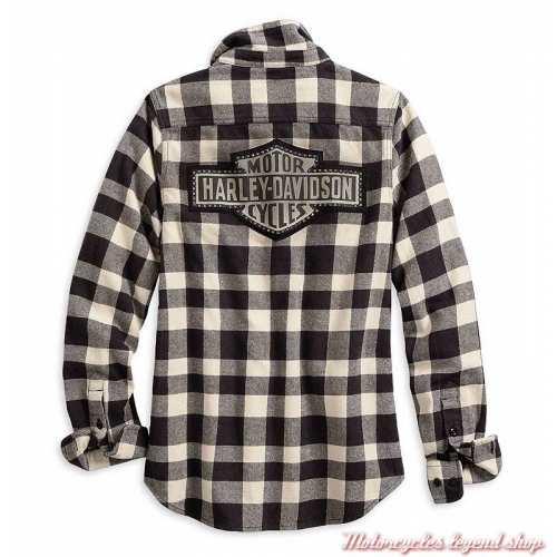 Chemise à carreaux Buffalo Harley-Davidson femme, manches longues, noir, blanc, coton, dos, 96064-20VW