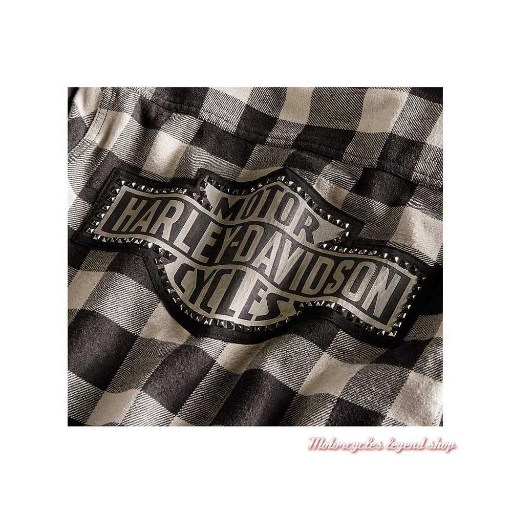 Chemise à carreaux Buffalo Harley-Davidson femme, manches longues, noir, blanc, coton, détail, 96064-20VW