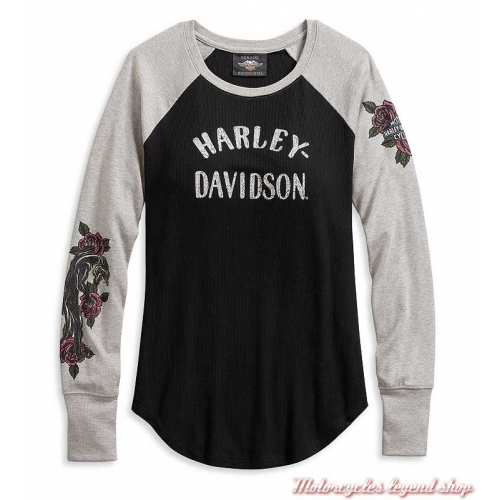 Tee-shirt Roses Harley-Davidson femme, manches longues, noir, gris, modal, polyester, 96074-20VW