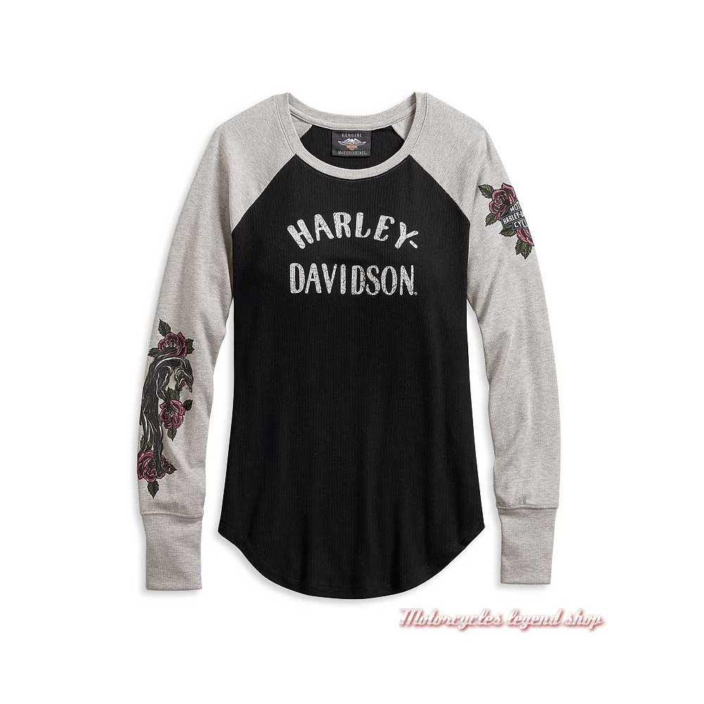 Tee-shirt Roses Harley-Davidson femme, manches longues, noir, gris, modal, polyester, 96074-20VW