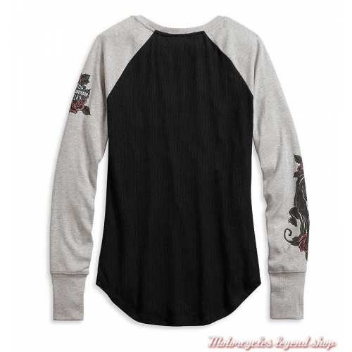 Tee-shirt Roses Harley-Davidson femme, manches longues, noir, gris, modal, polyester, dos, 96074-20VW
