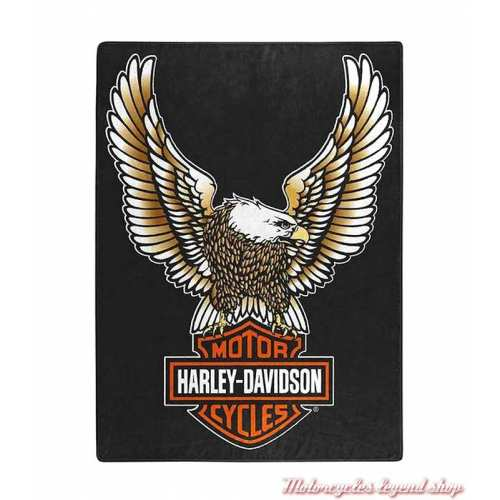 Plaid Fly High Harley-Davidson, polyester doux, 150 x 200 cm, noir, orange, marron, 117355