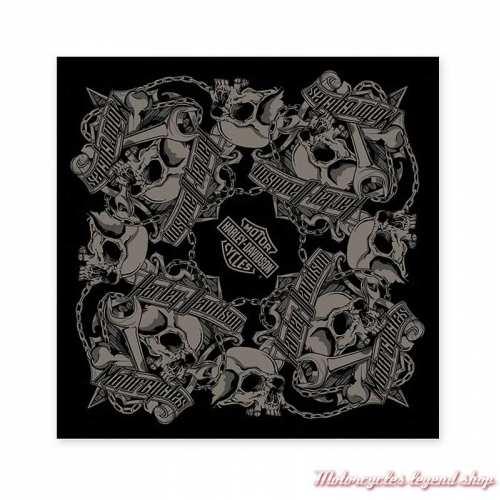 Bandana Grim Harley-Davidson, noir, gris, skull, coton, BA34180