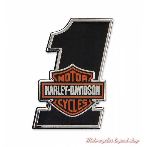 Pin's Number One Bar & Shield Harley-Davidson, émail noir, P035642