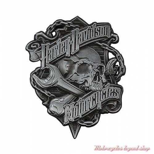 Pin's Grim Harley-Davidson, skull, 3D, métal antique, P341123