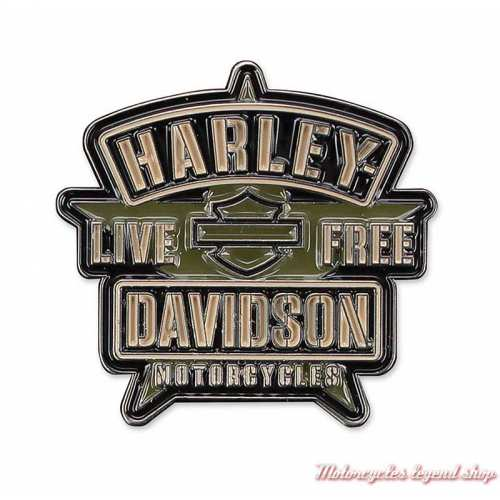 Pin's Resolute Harley-Davidson, étoile, émail, noir, kaki, P343942