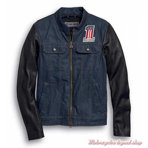 Veste Arterial Denim Harley-Davidson homme, jean cordura, cuir, homologué CE, 98122-20EM