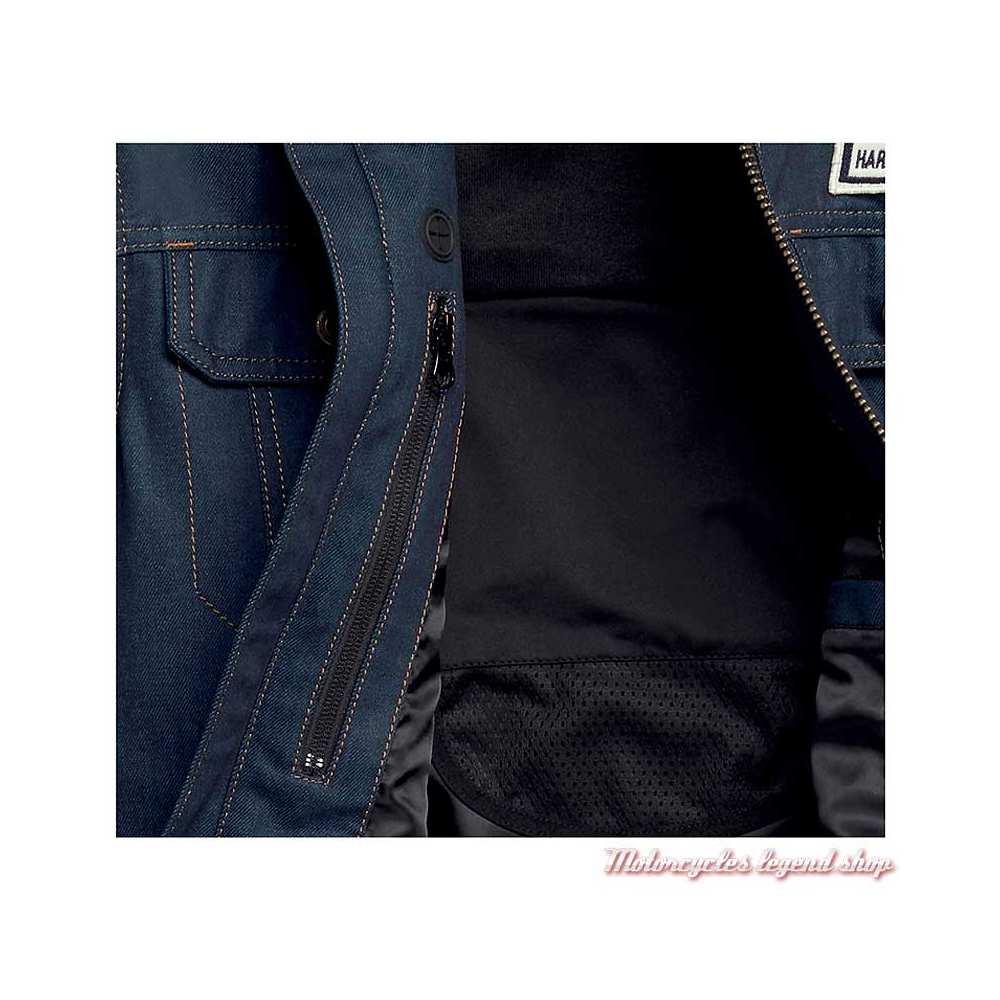 Veste Arterial Denim Harley-Davidson homme, jean cordura, cuir, homologué CE, détail, 98122-20EM