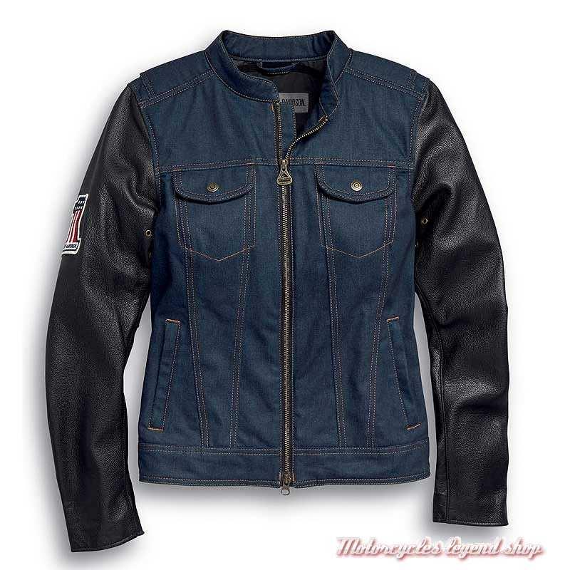 Veste Arterial Denim Harley-Davidson femme, jean cordura, cuir, homologué CE, 98132-20EW