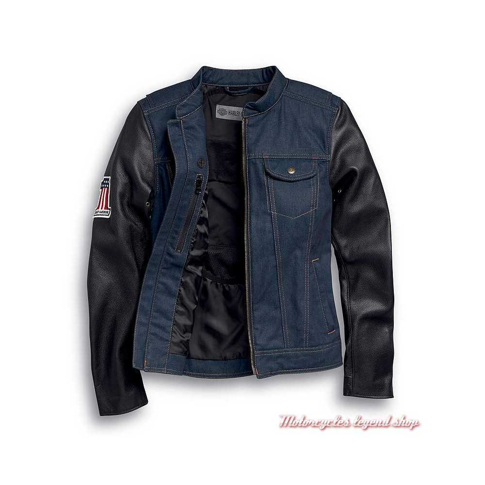 Veste Arterial Denim Harley-Davidson femme, jean cordura, cuir, homologué CE, 98132-20EW-2
