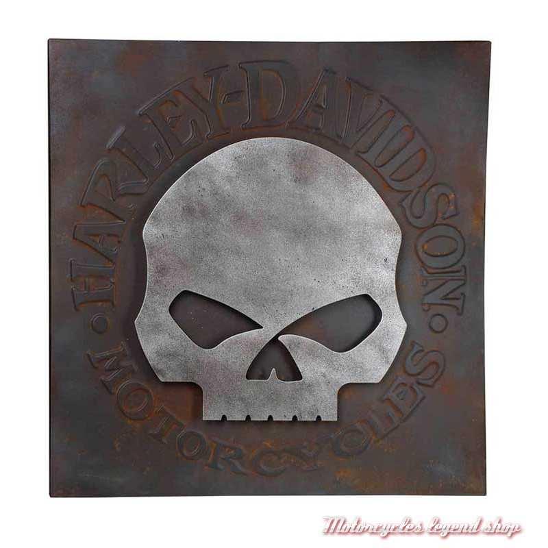 Panneau Skull Harley-Davidson, métal, aspect rouillé, 70 x 70 cm, HDL-15520