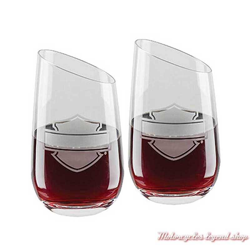 Ensemble 2 verres à vin Harley-Davidson, 40 cl, sans pied, incliné, transparent, HDL-18797