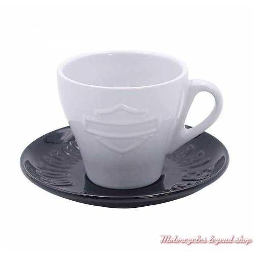 Tasse à café et soucoupe Harley-Davidson, 17 cl, céramique, blanc, noir, HDX-98619
