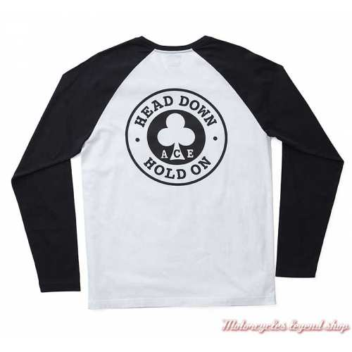 Tee-shirt Ace Cafe Barking Triumph homme, blanc & noir, manches longues, coton, dos, MTLA19602