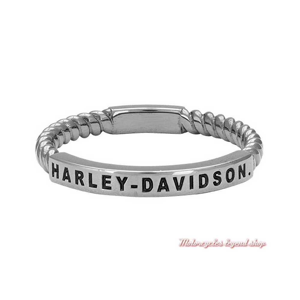 Bague argent Rope Harley-Davidson femme, torsadé, fini gris platine, HDR0488