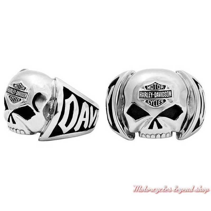 Bague acier Skull Willie G. Harley-Davidson homme, en relief, HSR0004