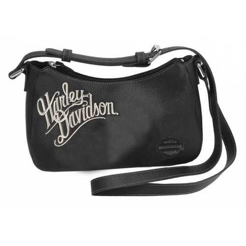 Sac besace cuir Harley-Davidson femme, noir, zip, brodé, ZWL1326-CRMBLK