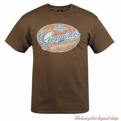 Tee-shirt Genuine Grunge Harley-Davidson homme, marron, manches courtes, Cornouaille Moto Quimper Bretagne