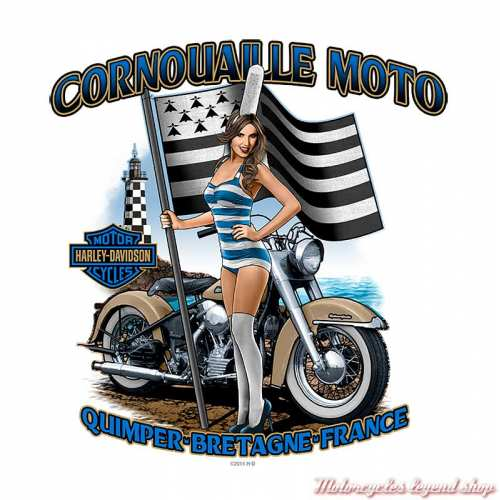 Tee-shirt G Stress Harley-Davidson homme, backprint Cornouaille Moto Quimper Bretagne