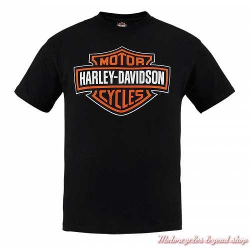 Tee-shirt Bar & Shield Harley-Davidson homme, noir, manches courtes, Cornouaille Moto Quimper Bretagne