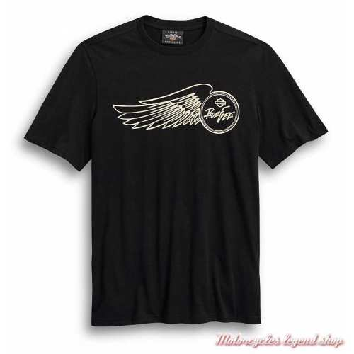 Tee-shirt Ride Free Harley-Davidson homme, noir, manches courtes, coton, 99024-20VM