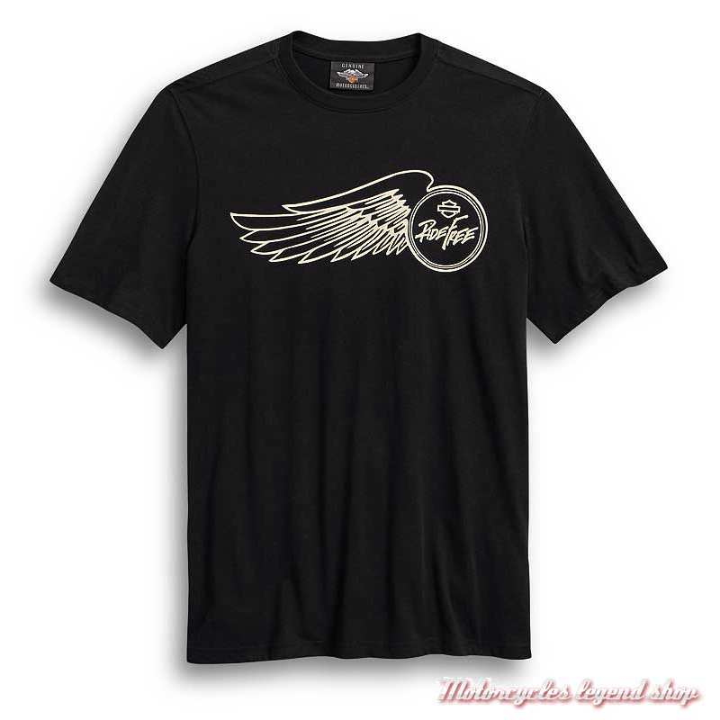 Tee-shirt Ride Free Harley-Davidson homme, noir, manches courtes, coton, 99024-20VM