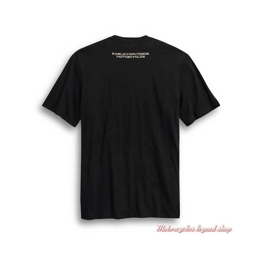 Tee-shirt Ride Free Harley-Davidson homme, noir, manches courtes, coton, dos, 99024-20VM
