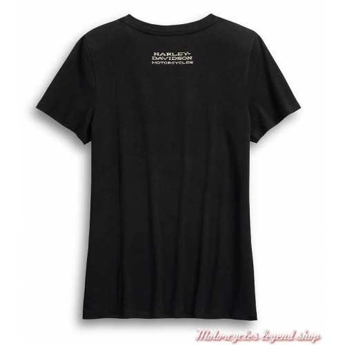 Tee-shirt Ride Free Harley-Davidson femme, noir, manches courtes, coton, dos, 99046-20VW