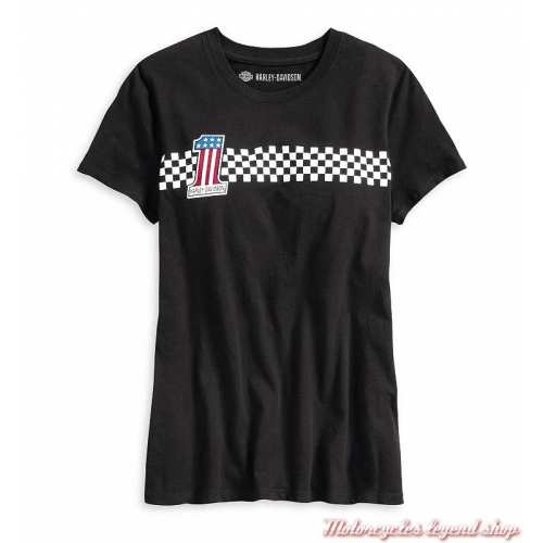 Tee-shirt One Checkered Stripe Harley-Davidson femme, manches courtes, noir, coton, vintage, 99042-20VW,