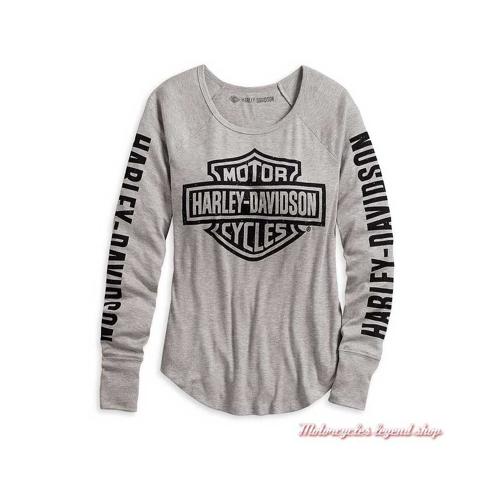Tee-shirt Logo Harley-Davidson femme? manches longues, gris, modal, polyester, 99043-20VW