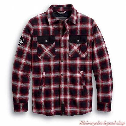 Chemise à carreaux Arterial Harley-Davidson homme, noir, rouge, résistant abrasion, homologué CE, 98124-20EM