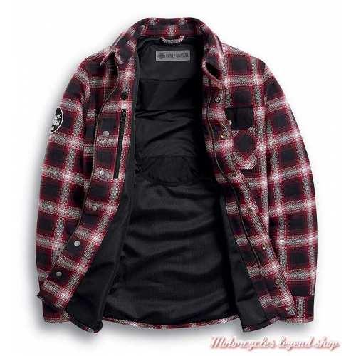 Chemise à carreaux Arterial Harley-Davidson homme, noir, rouge, résistant abrasion, homologué CE, ouvert, 98124-20EM