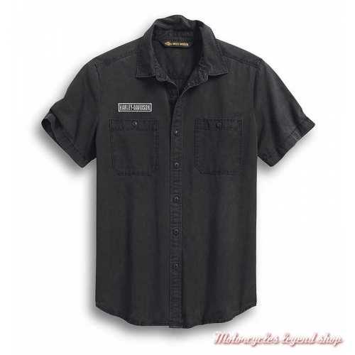 Chemisette V-Twin Harley-Davidson homme, noir délavé, coton, 99009-20VM