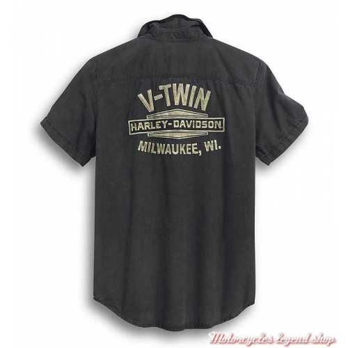 Chemisette V-Twin Harley-Davidson homme, noir délavé, coton, dos, 99009-20VM