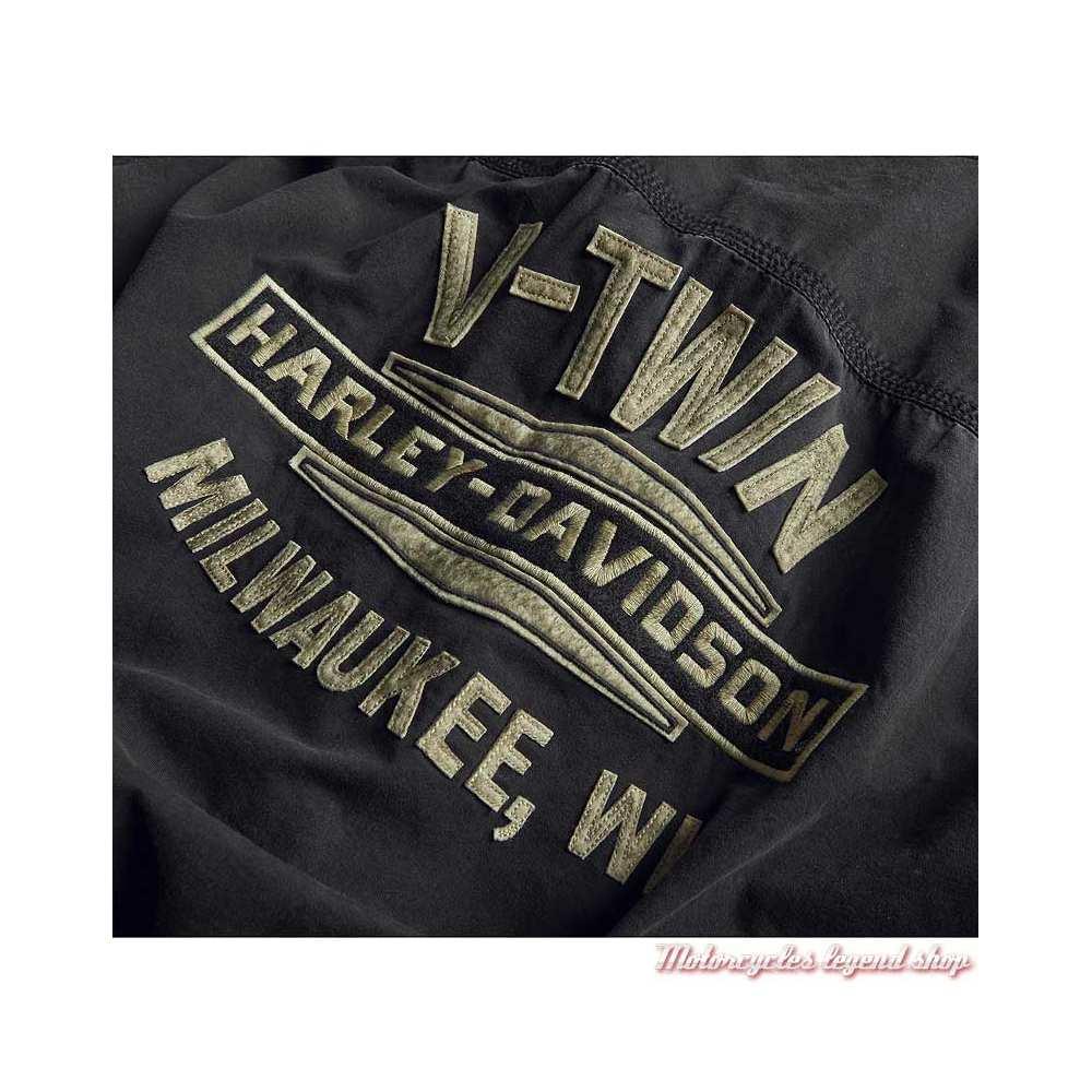 Chemisette V-Twin Harley-Davidson homme, noir délavé, coton, graphisme dos, 99009-20VM