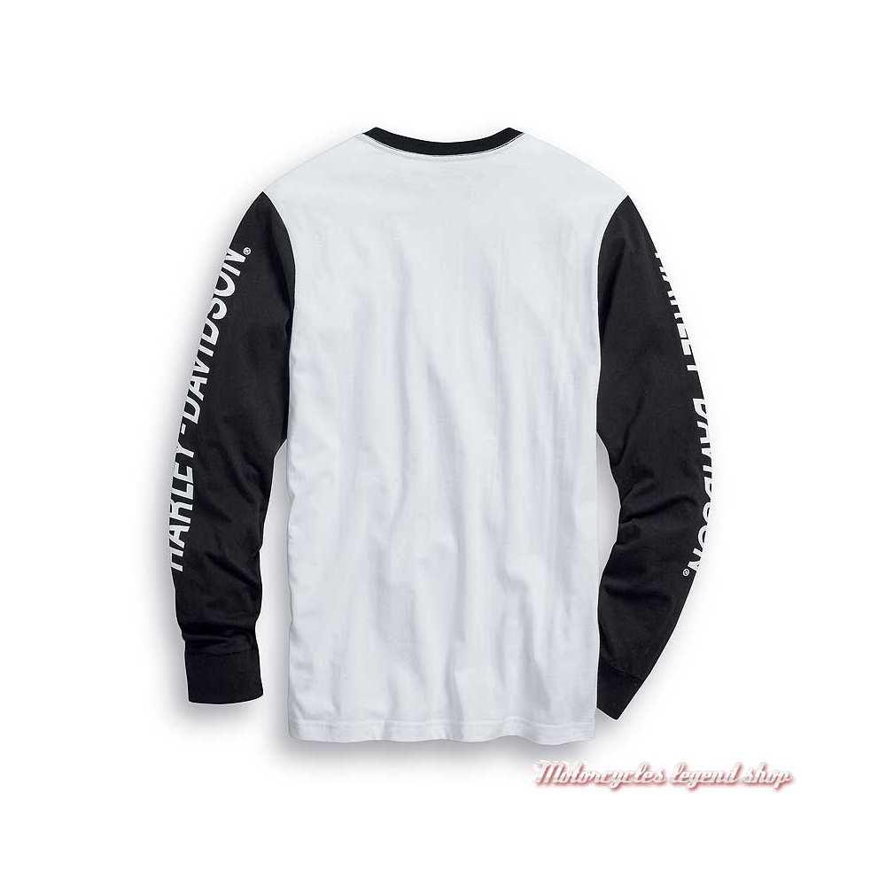 Tee-shirt One Harley-Davidson homme, manches longues, blanc, noir, coton, dos, 99022-20VM