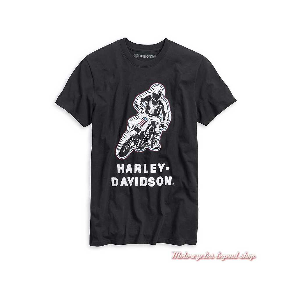 Tee-shirt Racing Harley-Davidson homme, noir, manches courtes, coton, 99021-20VM